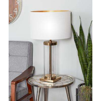 25 in. Clear Glass Cylindrical Table Lamp with White Drum Shade