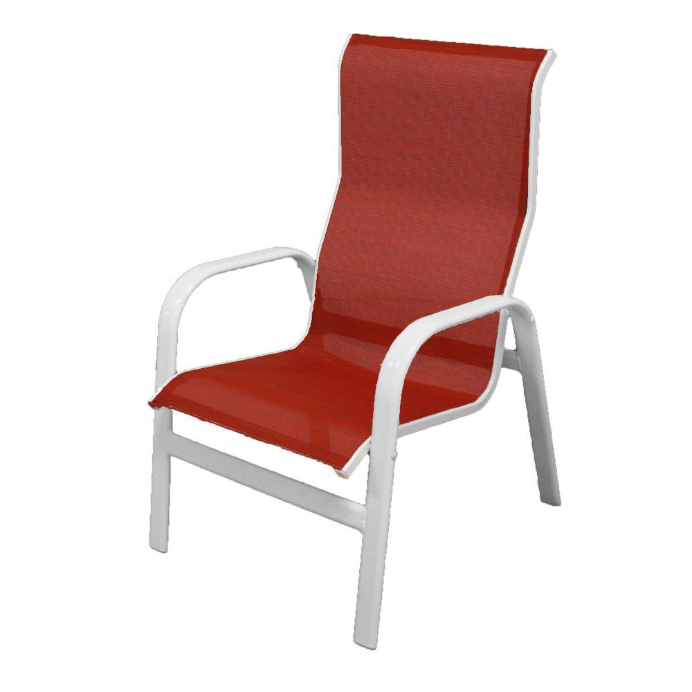 Marco Island White Commercial Grade Aluminum Sling Outdoor Dining Chair In Metallica Salsa 2