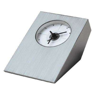 Tracker Brushed Nickel Desk Clock