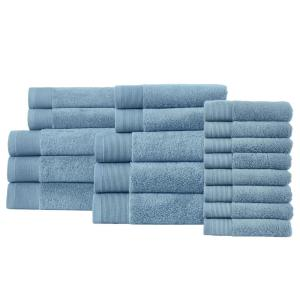 Performance Quick Dry 18-Piece Towel Set in Washed Denim