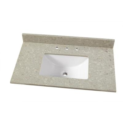 37 in. W x 22 in. D Engineered Quartz Vanity Top in Stoneybrook with White Single Trough Sink