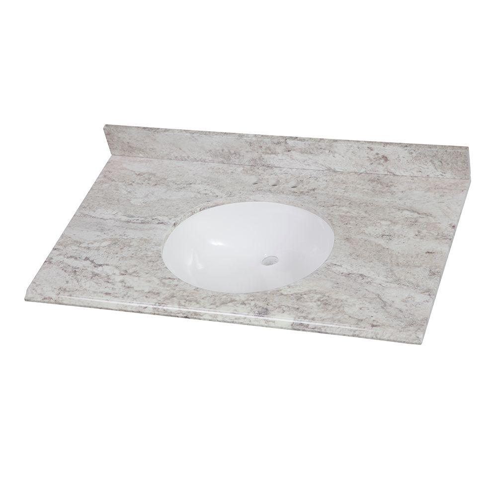 Home Decorators Collection 37 in. W x 22 in. D Stone Effects Vanity Top in Winter Mist with White Sink