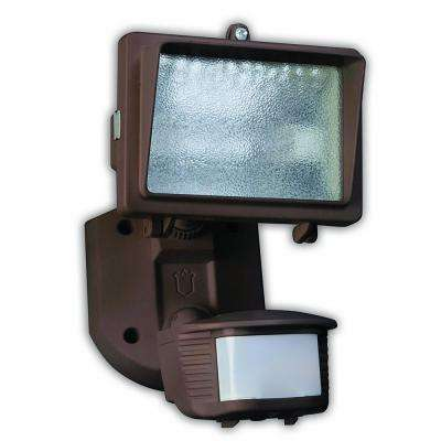 150-Watt 180° Diecast Metal Bronze Motion Activated Security Flood Light with Bulb and Single Head