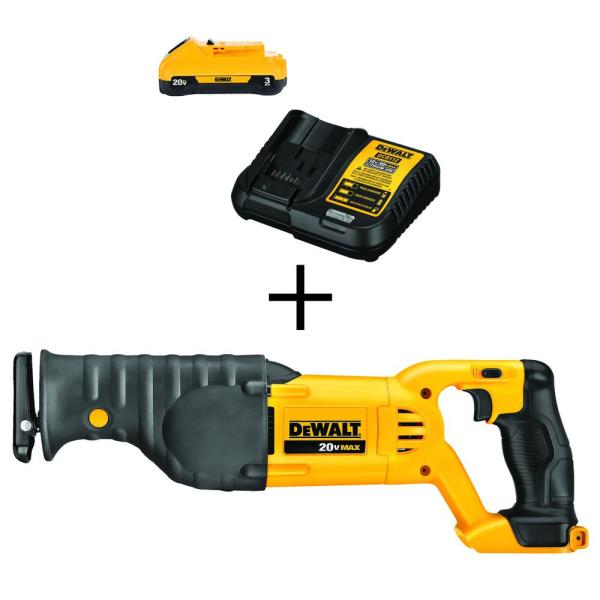 DEWALT 20-Volt MAX Lithium-Ion Cordless Reciprocating Saw (Tool-Only) with Free Battery Pack 3.0Ah and Charger