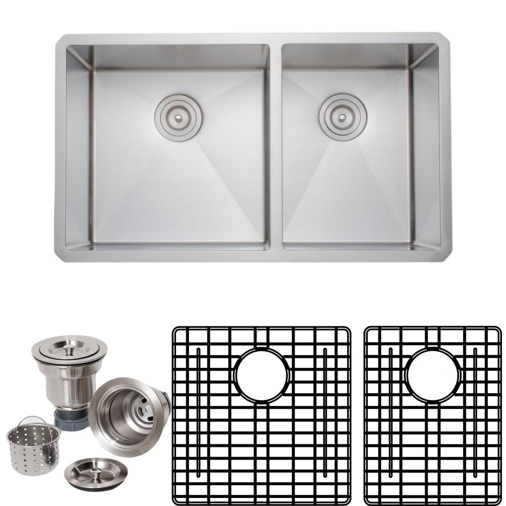 Wells New Chef\'s Collection Handcrafted Undermount Stainless Steel 33 in.  60/40 Double Bowl Kitchen Sink Package