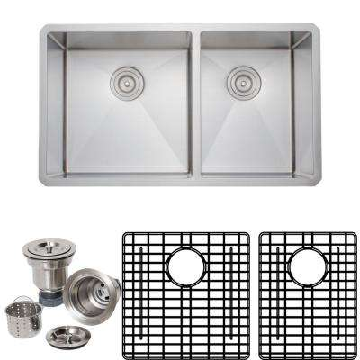New Chef's Collection Handcrafted Undermount Stainless Steel 33 in. 60/40 Double Bowl Kitchen Sink Package