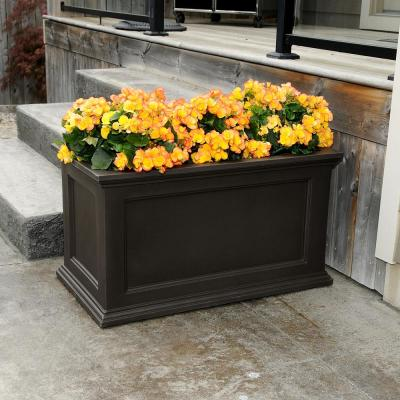 Self-Watering Fairfield 20 in. x 36 in. Espresso Polyethylene Patio Planter