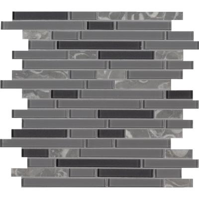 Lorena Grigio Interlocking 12 in. x 12 in. x 4mm Glass Stone Mesh-Mounted Multi-Surface Mosaic Tile (0.98 sq. ft.)