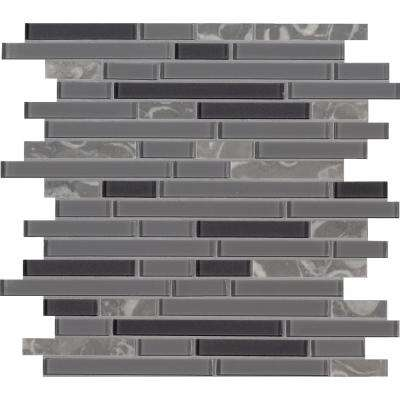 Lorena Grigio Interlocking 12 in. x 12 in. x 4mm Glass Stone Mesh-Mounted Mosaic Tile