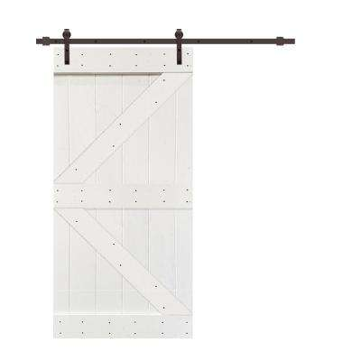 K Series 42  in. x 84 in. White Knotty Pine Wood Interior Sliding Barn Door with Hardware Kit