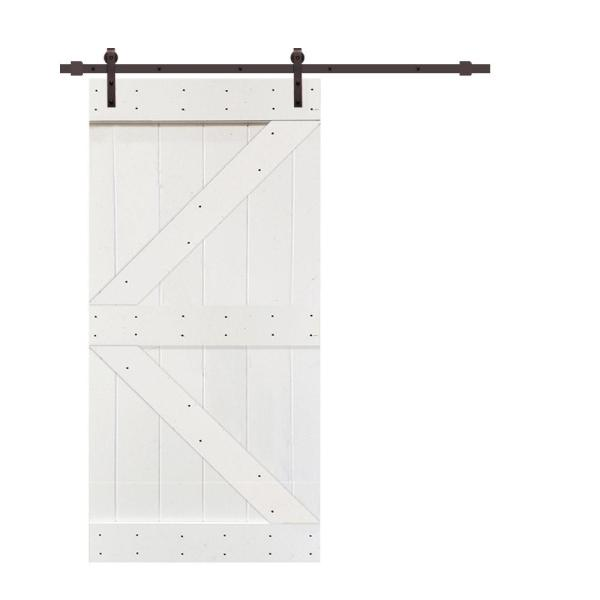Calhome K Series 42 In X 84 In White Knotty Pine Wood Interior Sliding Barn Door With Hardware Kit Swd11 Ab 96 K42w The Home Depot
