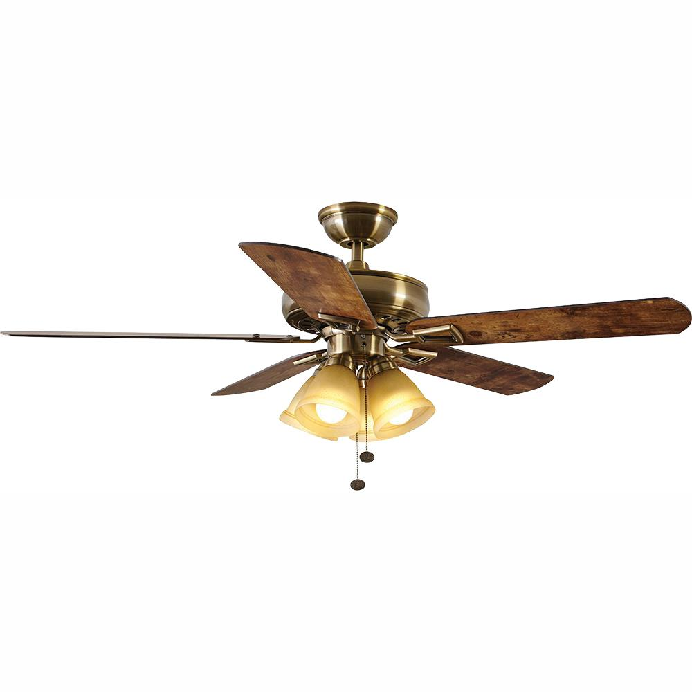A8102 A C Ceiling Light: Hampton Bay Lyndhurst 52 In. LED Antique Brass Ceiling Fan