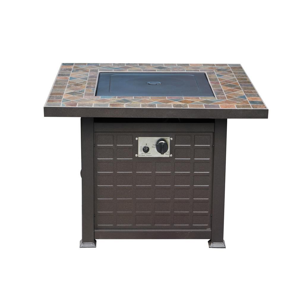 Patio Festival 34 in. x 25 in. Square Metal Propane Fire Pit Table with Lava Stone