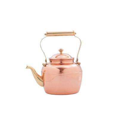 2.5 Qt. Solid Copper Tea Kettle with Brass Handle