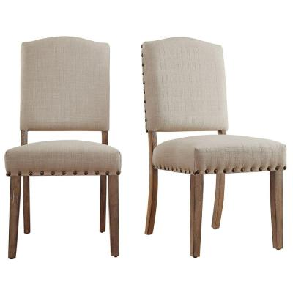 Bunker Hill Oatmeal Linen Dining Chair (Set of 2)