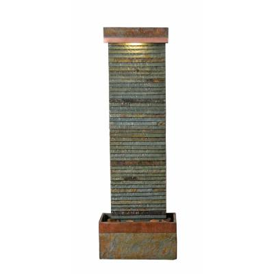 Stave Resin and Slate Indoor/Outdoor Floor Fountain