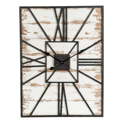 31.5 in. H Oversized Farmhouse Wooden/Metal Wall Clock