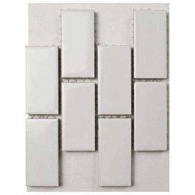 Metro Subway Glossy White Porcelain Mosaic Tile - 3 in. x 4 in. Tile Sample