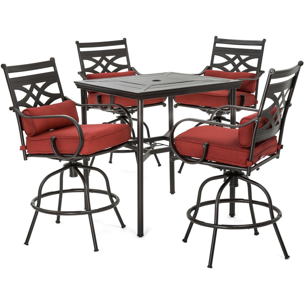 Hanover Montclair 5 Piece Steel Outdoor Bar Height Dining