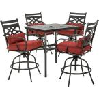 Montclair 5-Piece Steel Outdoor Bar Height Dining Set with Chili Red Cushions, 4-Swivel Chairs and a 33 in. Dining Table