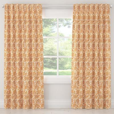 50 in. W x 108 in. L Unlined Curtains in Japanais Orange