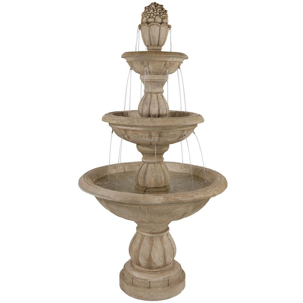 61 in. 3-Tier Cornucopia Outdoor Water Fountain