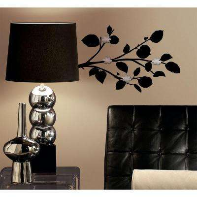 5 in. x 11.5 in. Black Branch with Bendable Mirrors 15-Piece Wall Decals