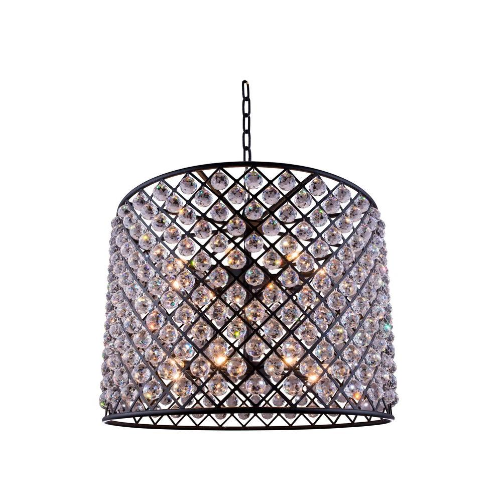 Elegant Lighting Madison 12-Light Mocha Brown Chandelier with Clear Crystal