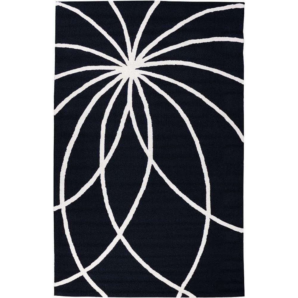 Well Woven Everest Swirls and Spirals Black 7 ft. 6 in. x 9 ft. 6 in. Modern Area Rug