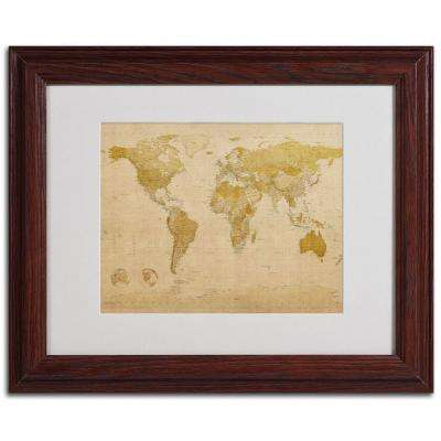 11 in. x 14 in. World Map Antique Framed Matted Art