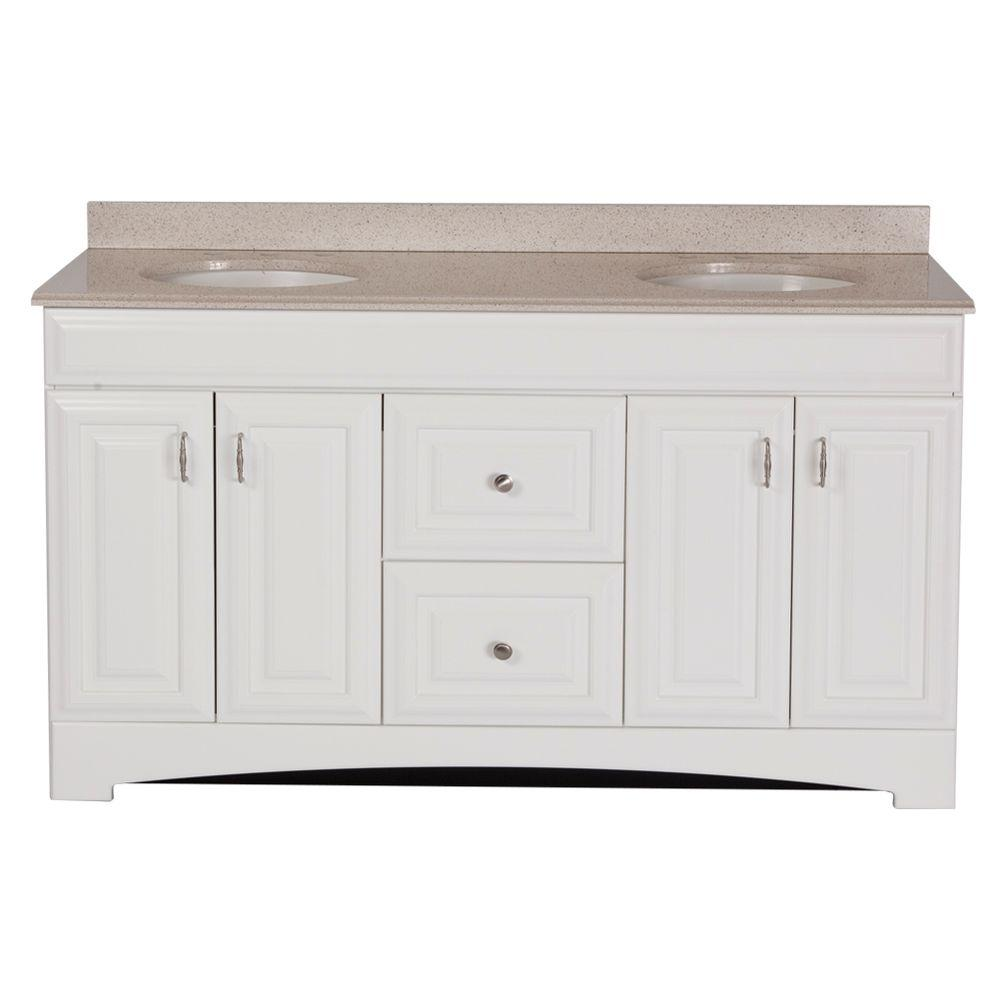 St. Paul Providence 60 In. Vanity In White With Colorpoint Vanity Top In  Maui-PRSD60MAP2COM-WH - The Home Depot