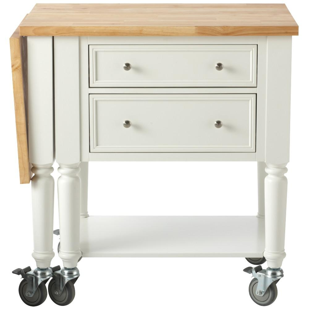 Martha Living Blaine Picket Fence White Kitchen Cart With Drop Leaf