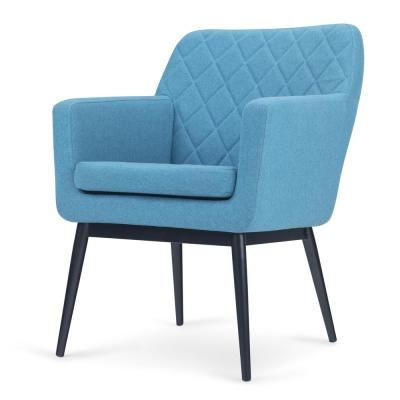 Alegra 27 in. Wide Mid Century Modern Quilted Back Accent Chair in Blue Linen Look Fabric