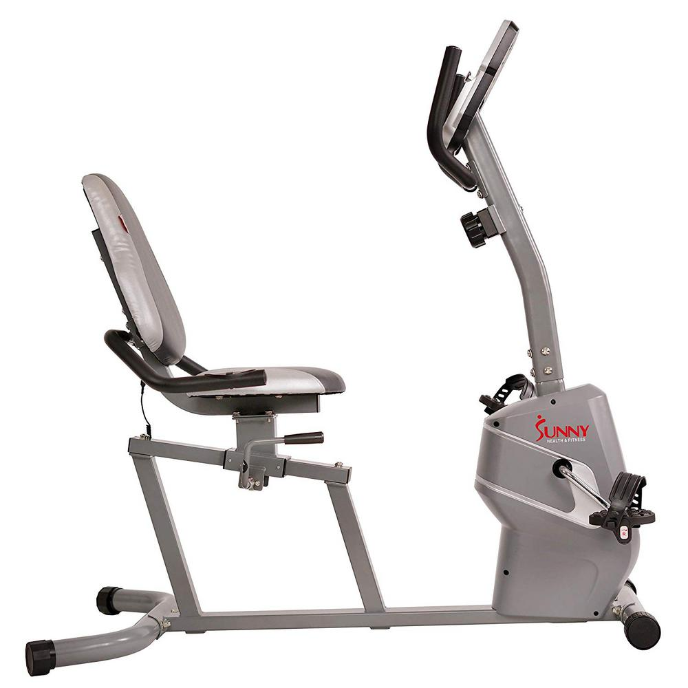 Sunny Health & Fitness Magnetic Recumbent Bike Exercise Bike with Easy  Adjustable Seat, Tablet Holder