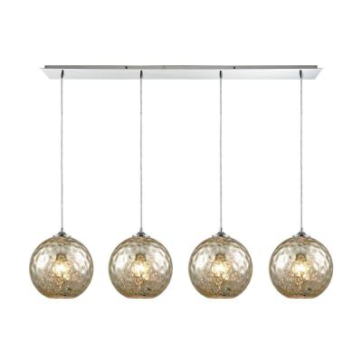 Watersphere 4-Light Linear Pan in Polished Chrome with Mercury Hammered Glass Pendant