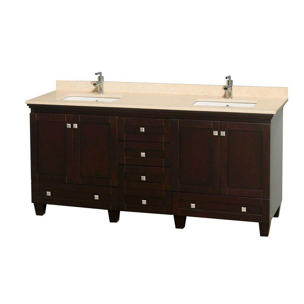 Wyndham Collection Acclaim 72 in. Double Vanity in Espresso with Marble Vanity Top in Ivory and Square Sink