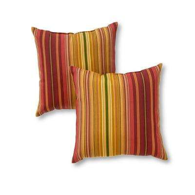 Kinnabari Stripe Square Outdoor Throw Pillow (2-Pack)
