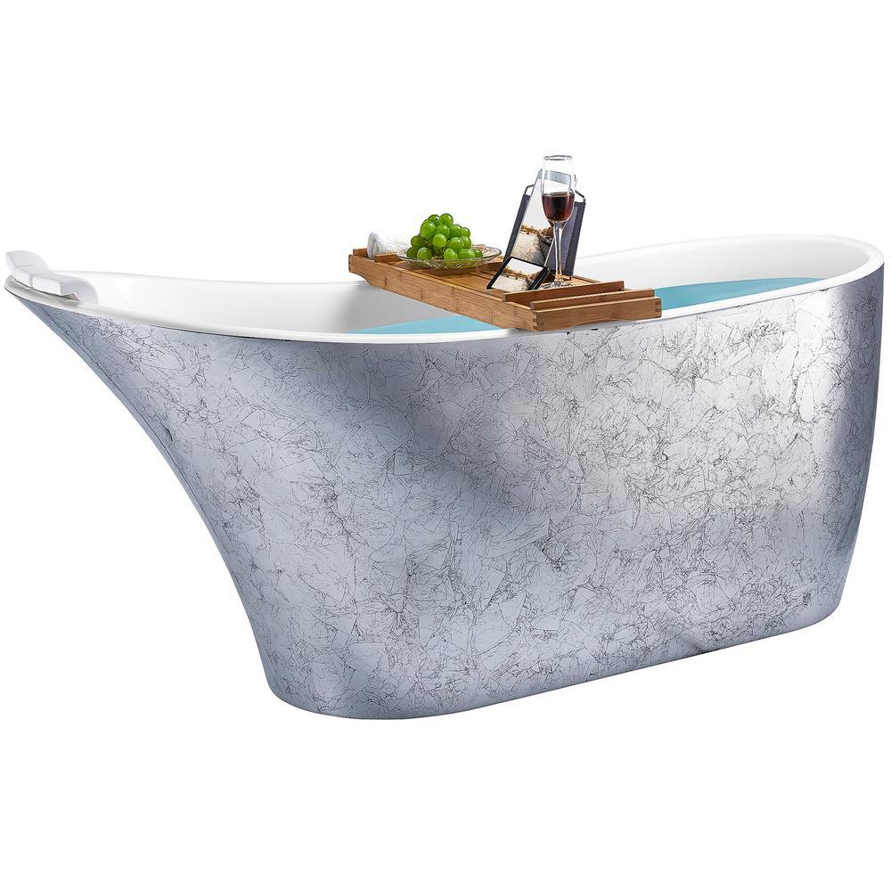 Freestanding Bathtub 63 in. Fiberglass Flat Bottom Bathtub Modern Stand Alone Tub Luxurious SPA Tub in Glossy Silver