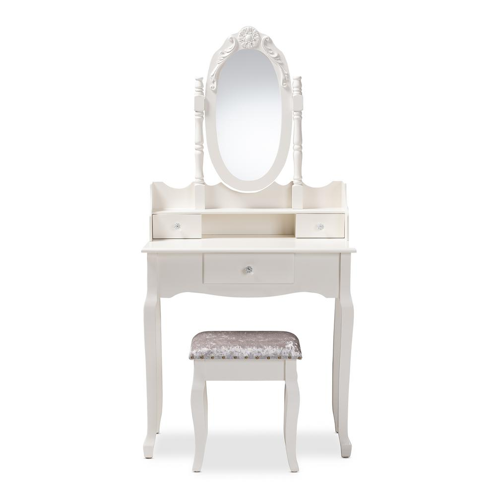 Baxton Studio Veronique 2-Piece White Bedroom Vanity Set-151-9208-HD ...