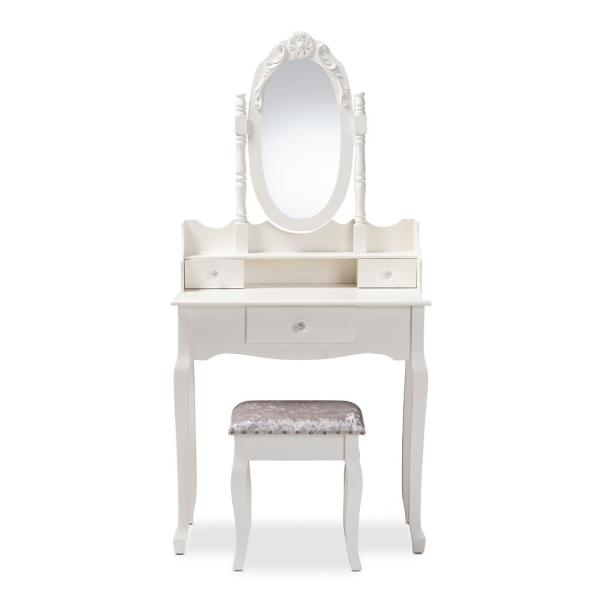 Baxton Studio Veronique 2-Piece White Bedroom Vanity Set 151-9208-HD ...