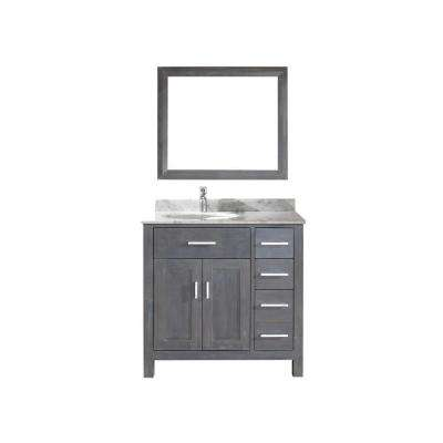Kalize 36 in. Vanity in French Gray with Marble Vanity Top in Carrara White and Mirror