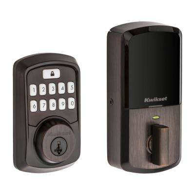 Aura Venetian Bronze Single Cylinder Electronic Bluetooth Keypad Smart Lock Deadbolt featuring SmartKey Security