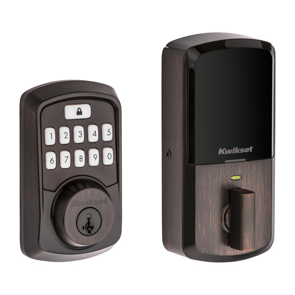 Aura Venetian Bronze Single Cyl. Elec. BT Keypad Smart Lock Deadbolt with Avalon Handle and Tustin Hall/Closet Lever