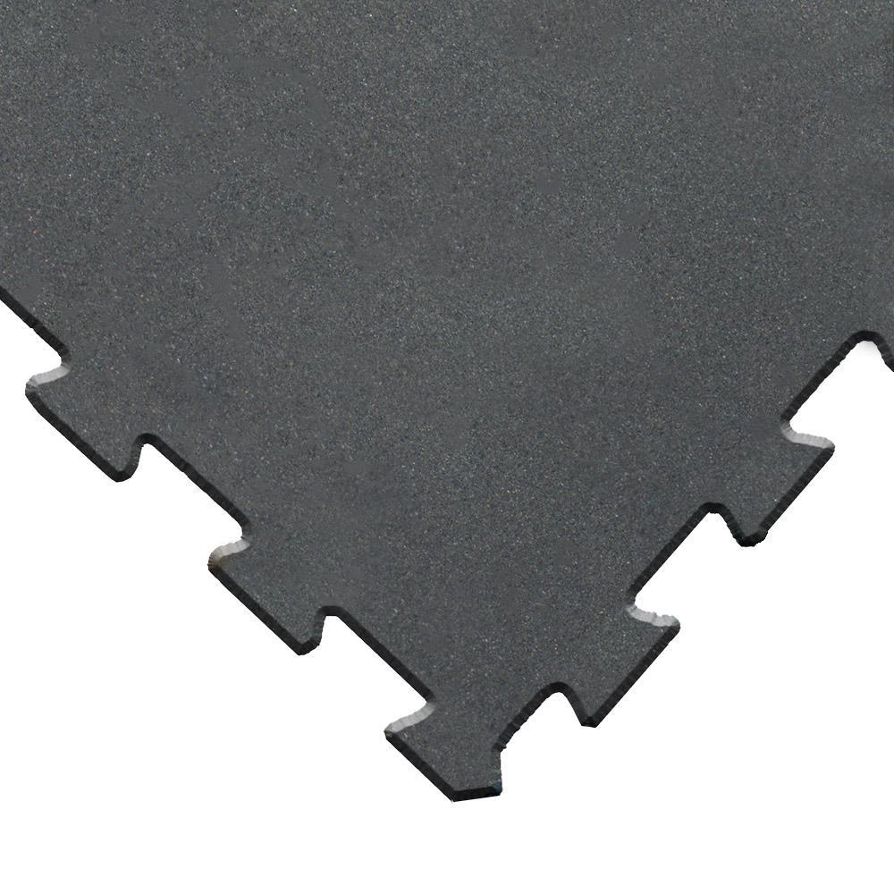 """ReUz"" Rubber Tiles 1.6 ft. W x 1.6 ft. L Black Rubber Flooring Tiles (88 sq. ft.) (32-pack)"