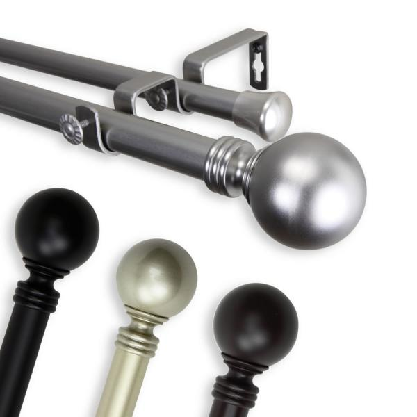 Rod Desyne 120 In 170 In Double Curtain Rod In Black With Globe Finial 100 01 992 D The Home Depot