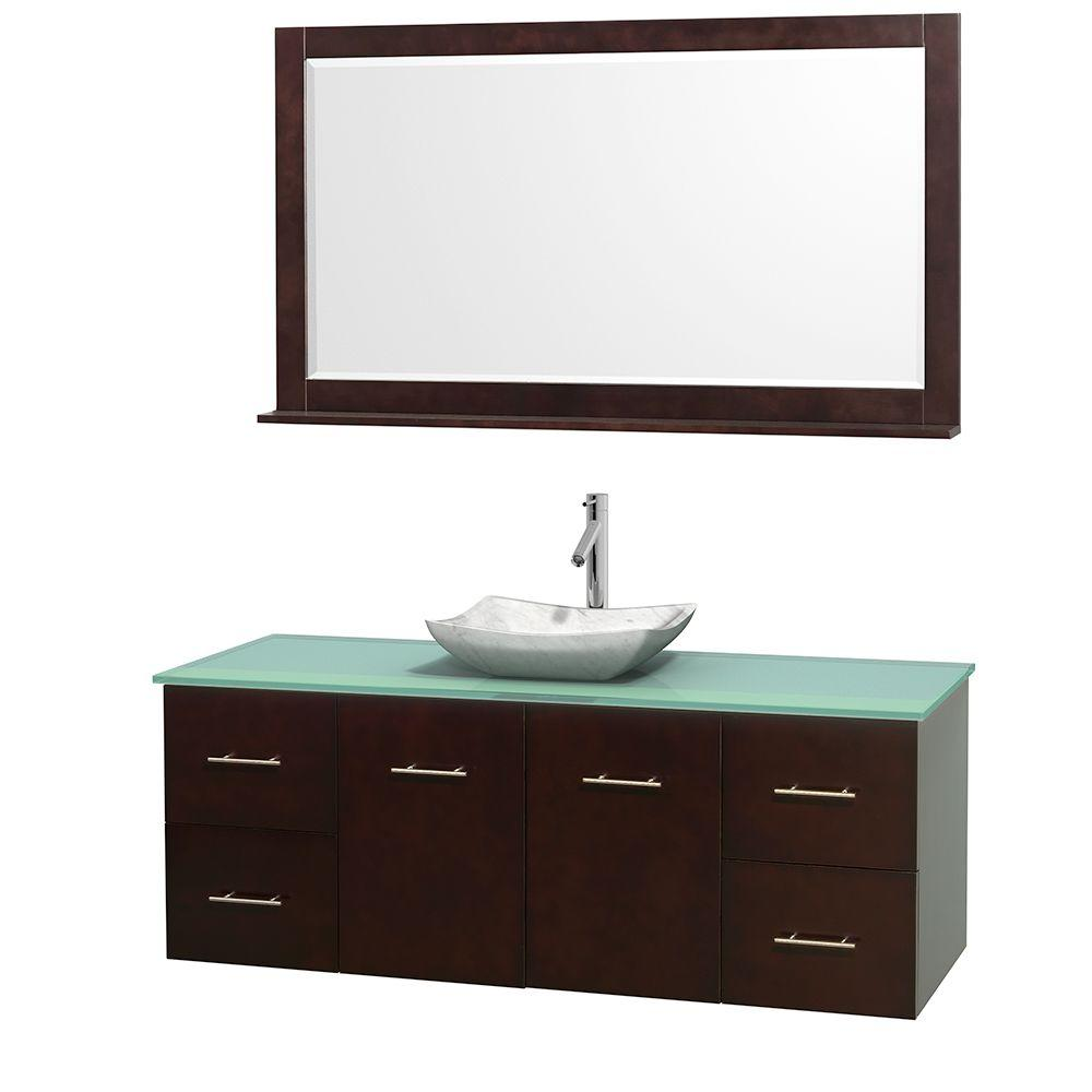 Centra 60 in. Vanity in Espresso with Glass Vanity Top in