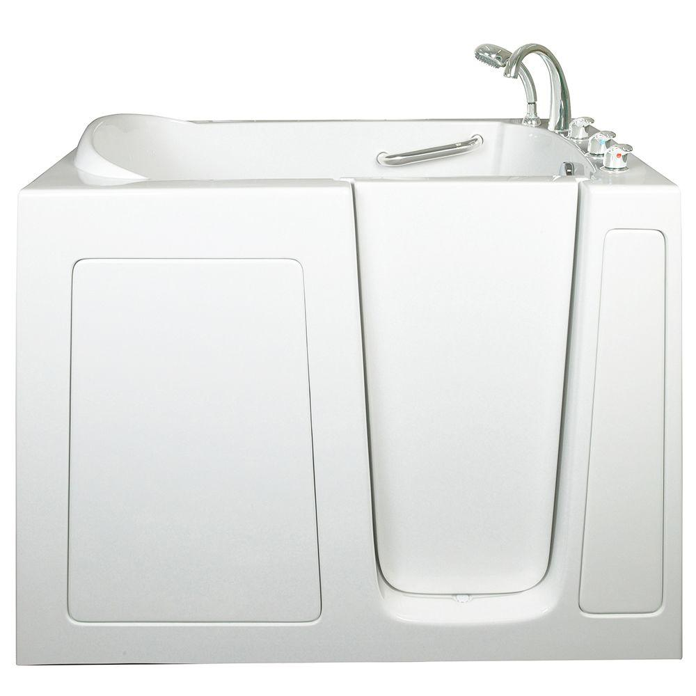 Ella Low Threshold 4.33 ft. x 30 in. Walk-In Air and Hydrotherapy Massage Bathtub in White with Right Drain/Door