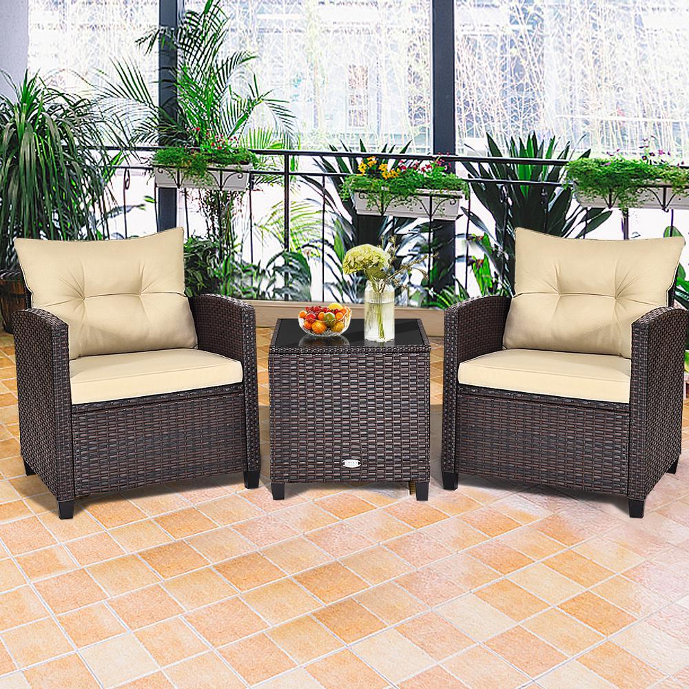 Costway Patio Conversation Sets, 3 Piece Wicker Patio Furniture Set