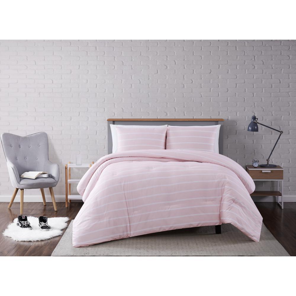 Maddow Stripe Blush King 3-Piece Comforter Set