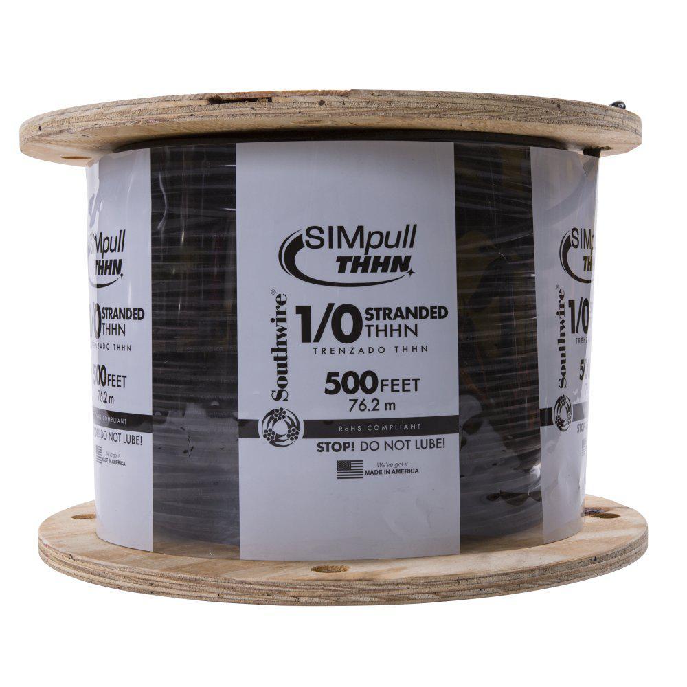 500 ft. 1/0 Black Stranded CU SIMpull THHN Wire